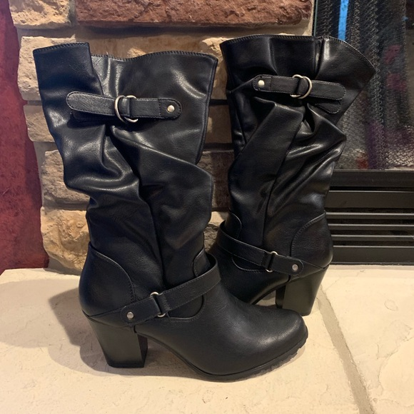 Apt. 9 Shoes - Apt 9 Black High Heel Boots with belt accents